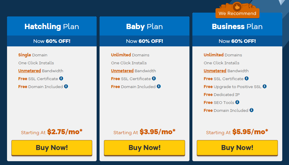 HostGator Pricing