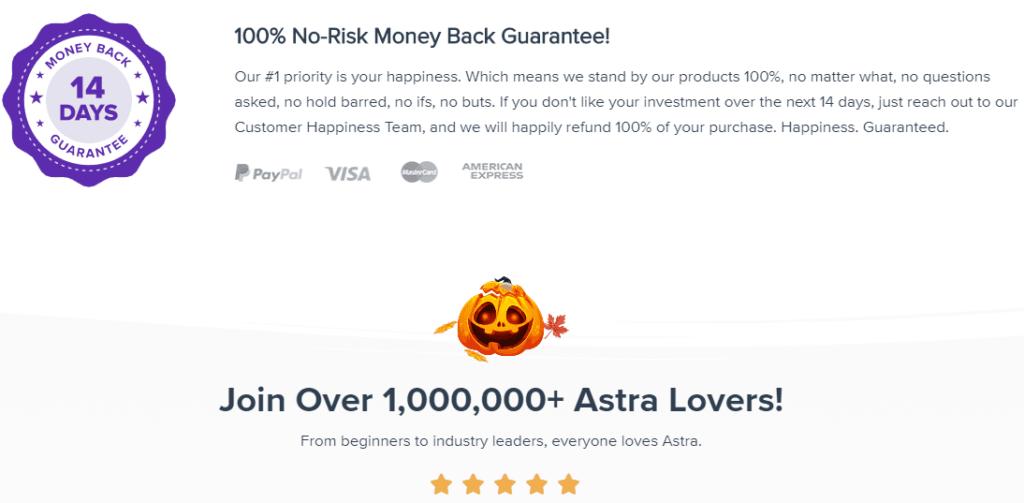 Astra Theme money back guarantee